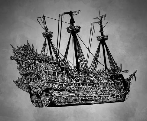 Hand Drawn Pirate Ship