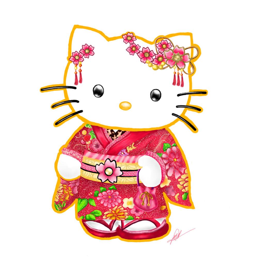 Hello Kitty Wearing a Kimono Painting by Artsanpuc101