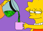 Lisa Simpson being served some cannabis drink