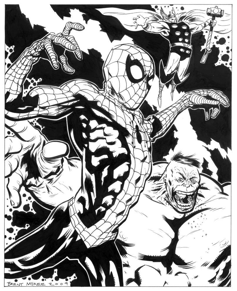 spidey hulk thor inks by BrentMcKee