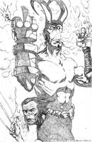 hellboy and logan 4 pencils by BrentMcKee