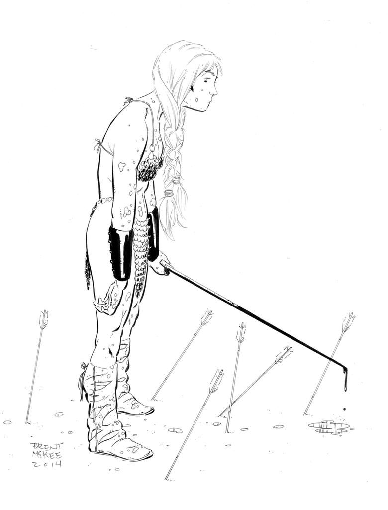 Red Sonja ink sketch by BrentMcKee