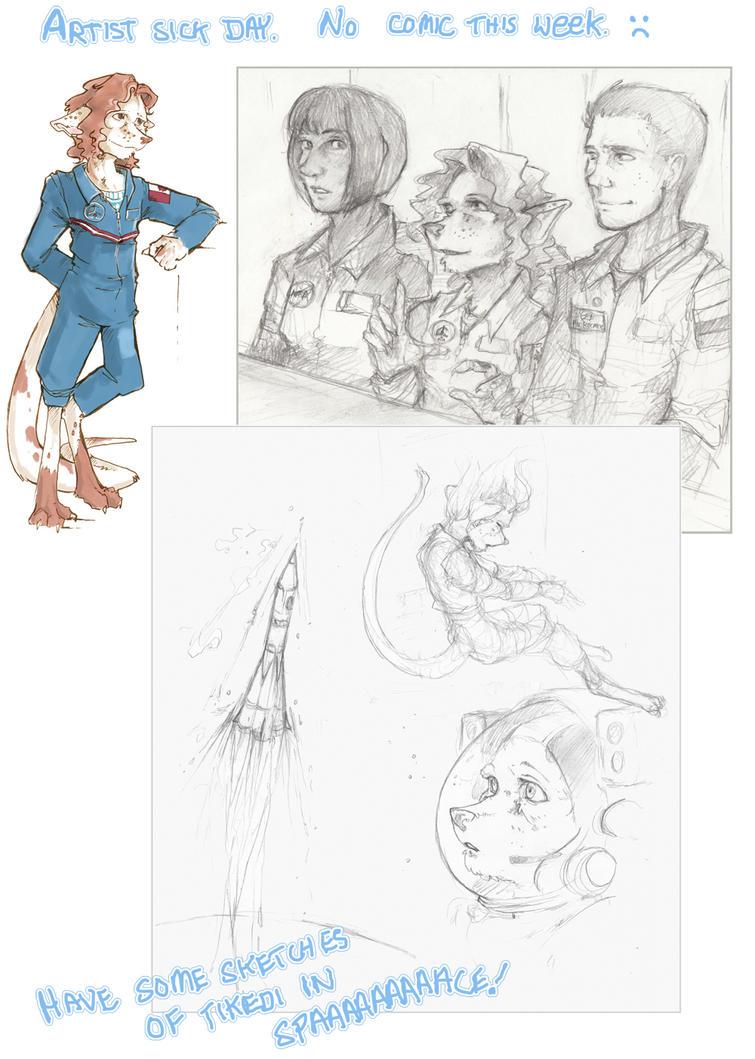 Sick Day Sketches: Space Tikedi by talon-serena