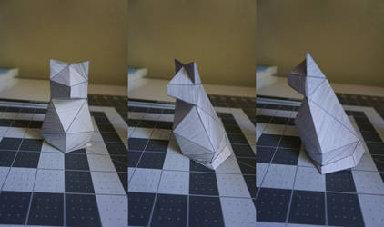 Paper Cat Statue by Heyro0