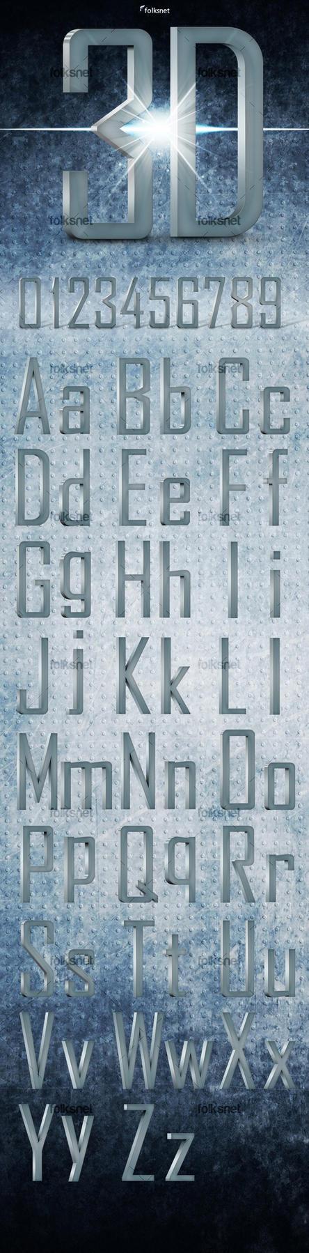 3D Metal Font by GrDezign
