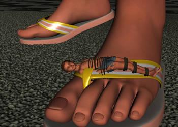 Cody tied to a boys flip flop 1 by Tinybr