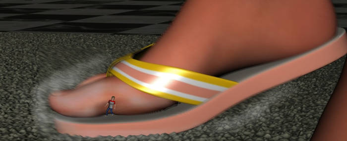 Cody is Sandal surfing on a boys flip flop