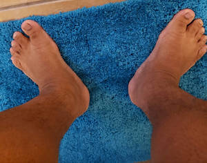 Looking down at a guys feet