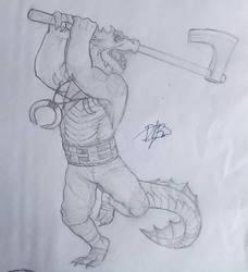 Sketch - Dragonborn Barbarian