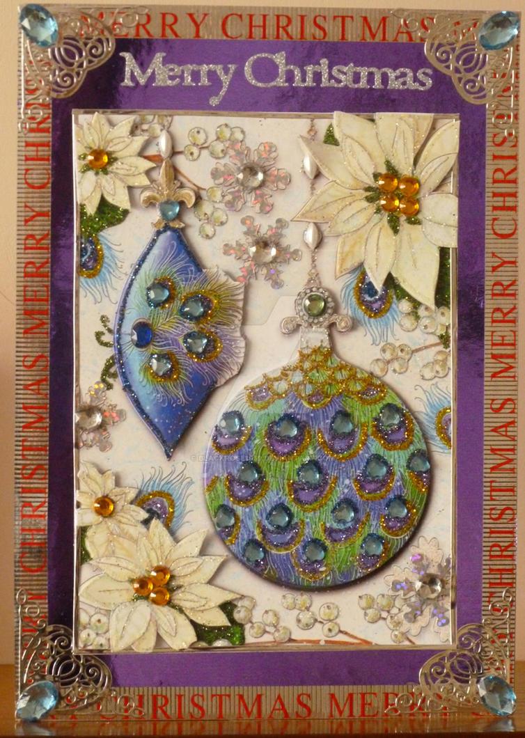 Peacock Baubles Xmas Card by blackrose1959
