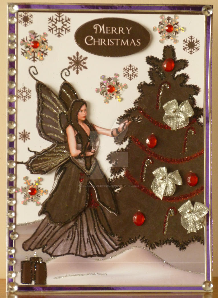 Black Gothic Fairy Xmas Card for Chelle by blackrose1959