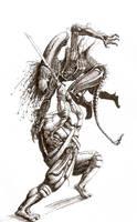 TMNT Leonardo Vs Xenomorph by Satanoy