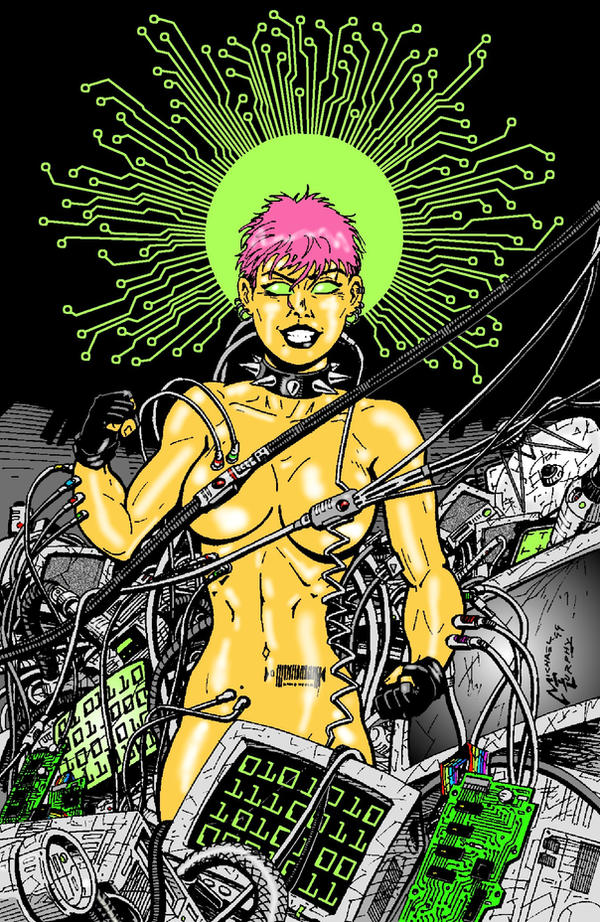 Cythnia the Cyberpunk Goddess by RedSpider2008