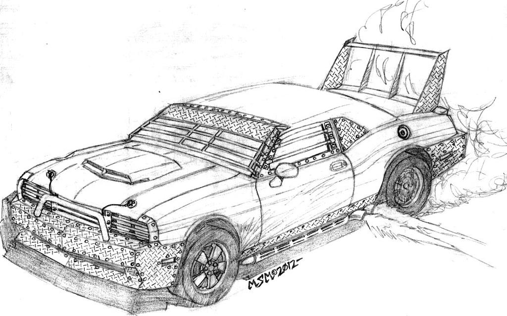 post apocalyptic dodge challenger by redspider2008 on