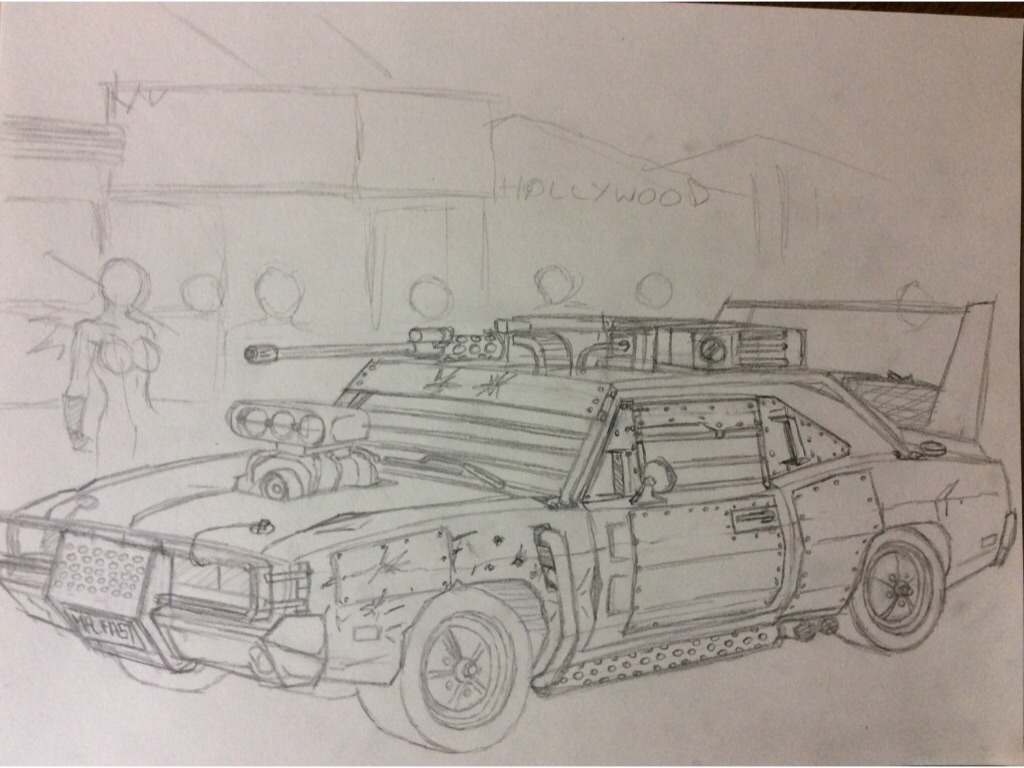 Post-Apocalyptic 1969 Dodge Charger R/T Sketc by RedSpider2008