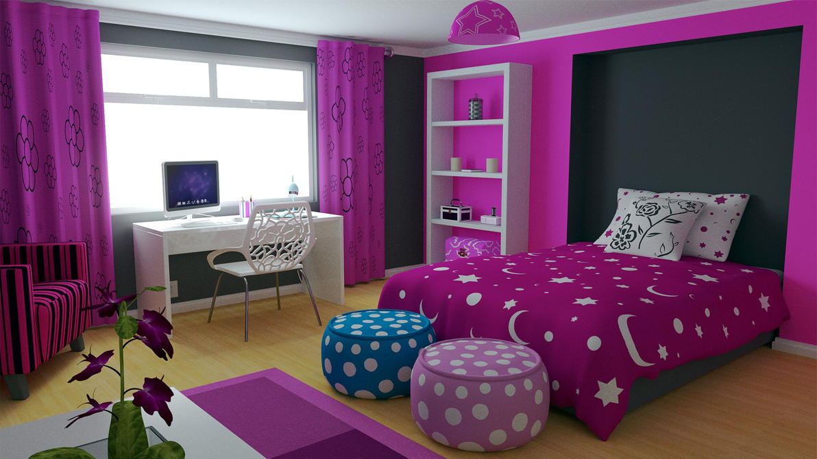 Modern girls bedroom by aqueousdude on deviantart for Bed rooms for girls