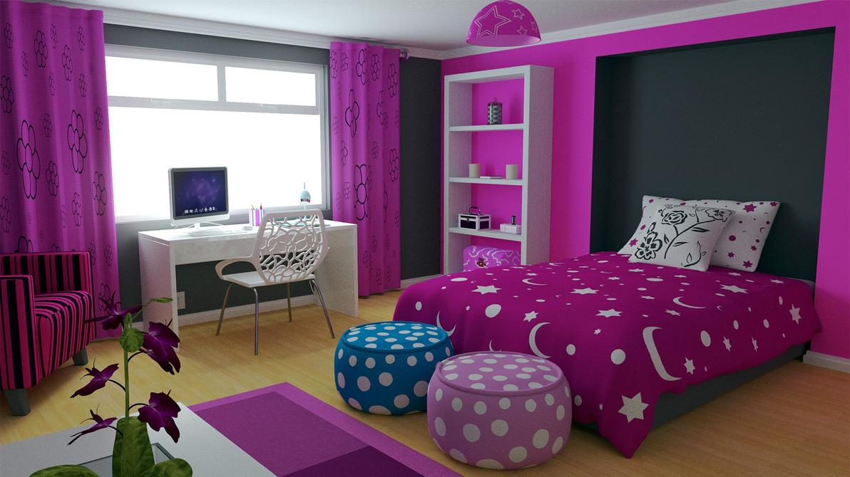 غرف نوم بناتيةةةة  Modern_girls_bedroom_by_aqueousdude-d4uhl9r