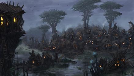 Swamp village by Uriak