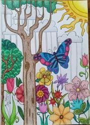 Colored Scene Zentangle  by CrazieCathie