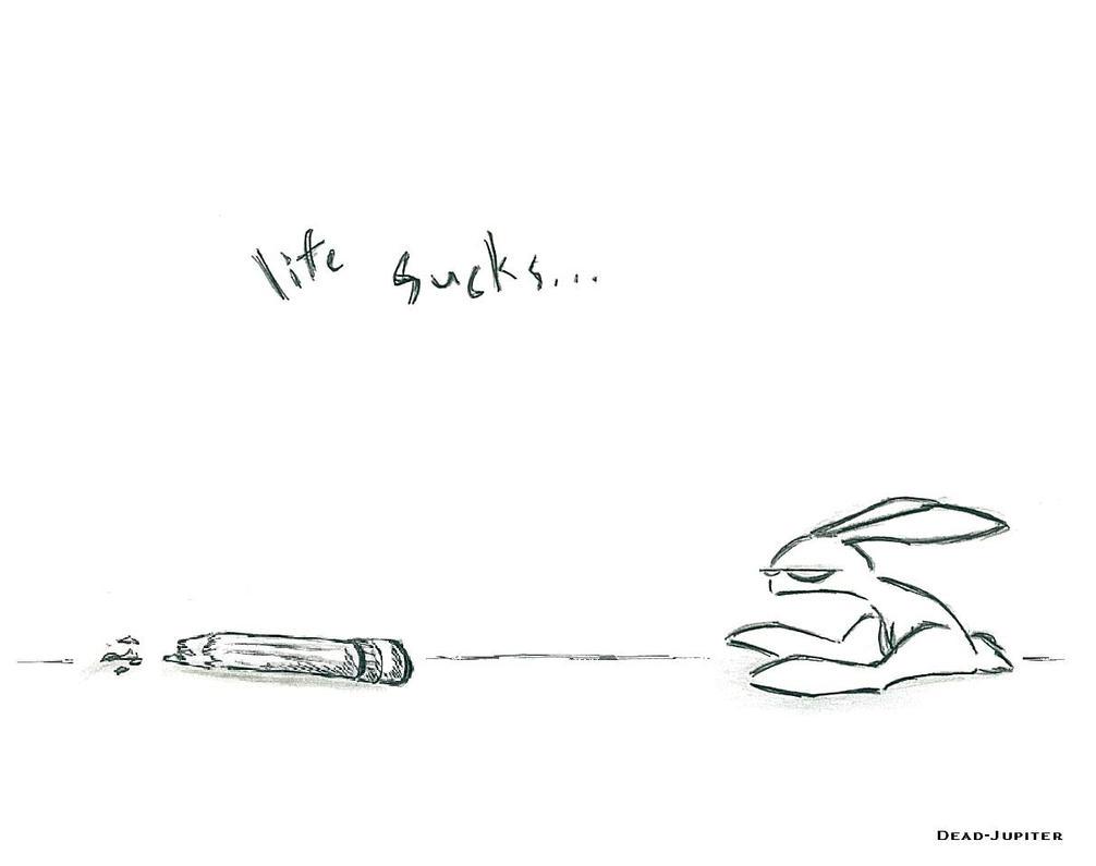 life sucks .bunny wallpaper. by dead-jupiter on DeviantArt