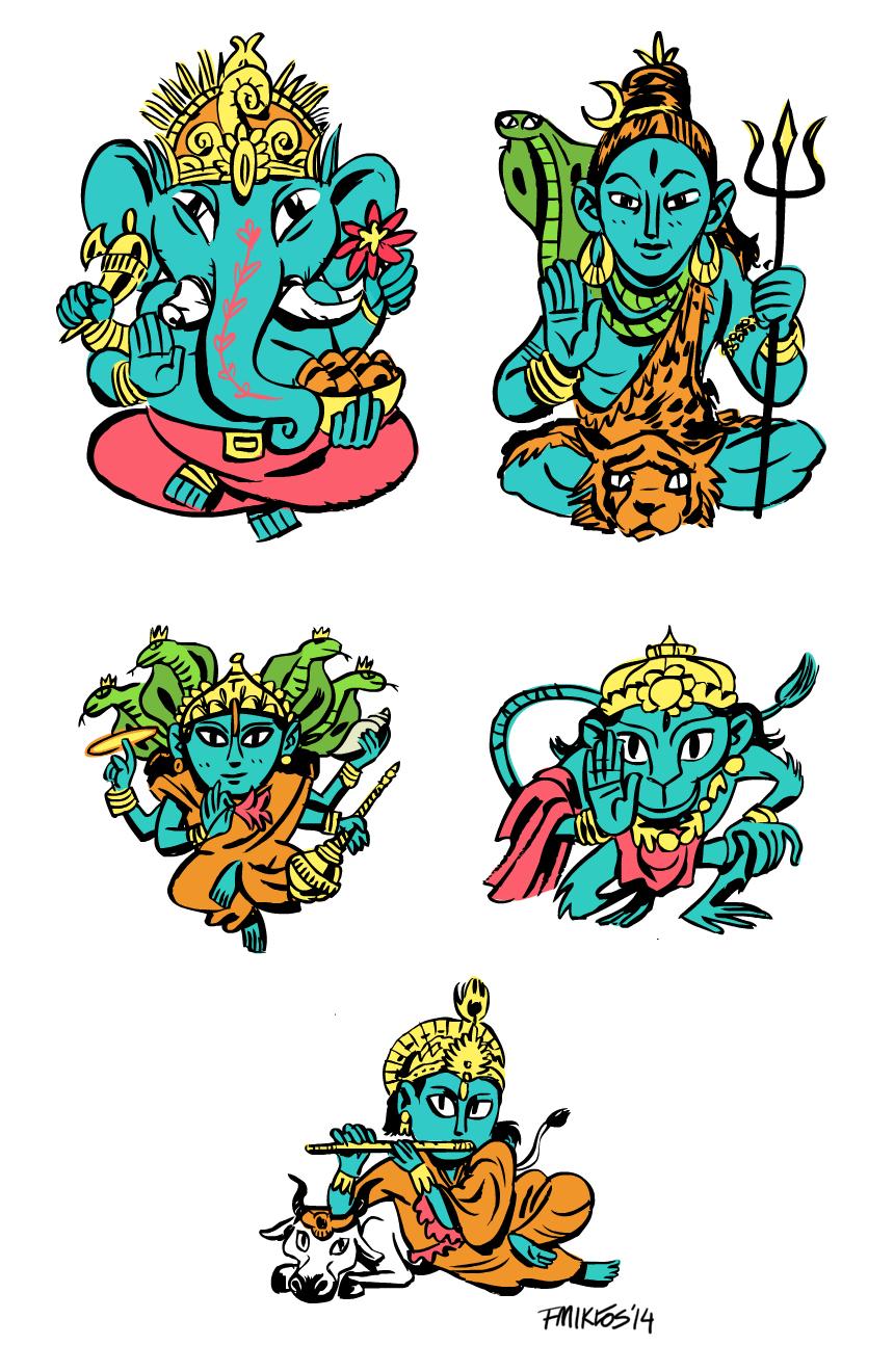 Hindu Gods by nonamefox