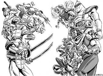 TMNT double page fanart by nonamefox