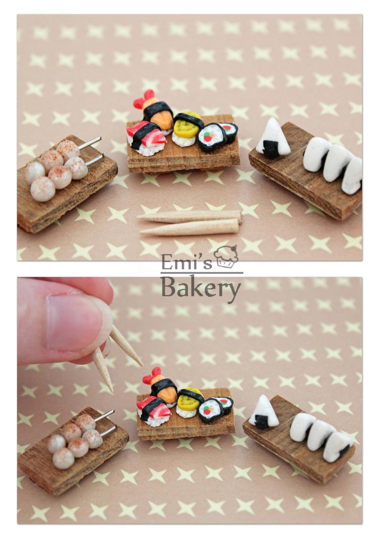 Miniature Sushi, Dango, and Onigiri by EmisBakery