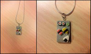 Gift: miniature sushi necklace