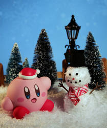 Kirby with snowman by EmisBakery