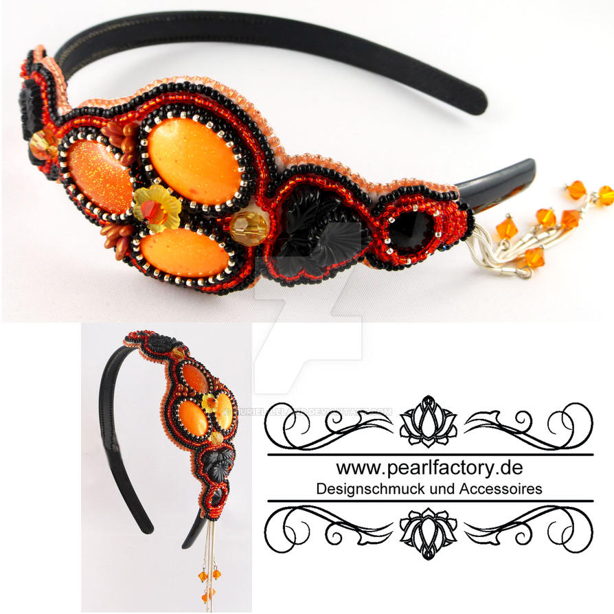 Headband, Hairband, Bead Embroidery, Resin by Muriel-Leland