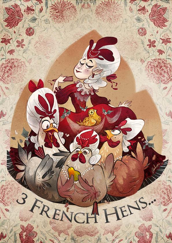 3 French Hens by Fairygodflea