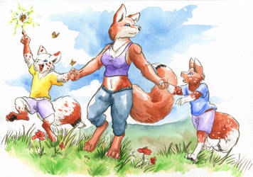 Commission- the Fox Family by Cervelet