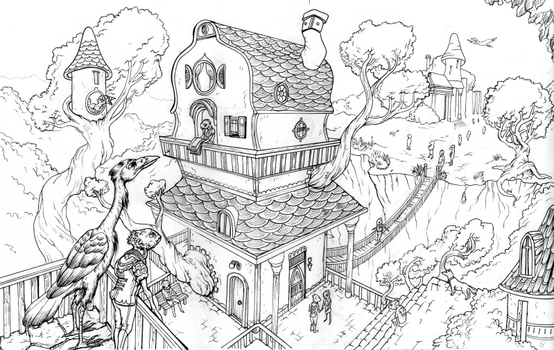 Line Art Village : Treehouse village line art by ninjerina on deviantart