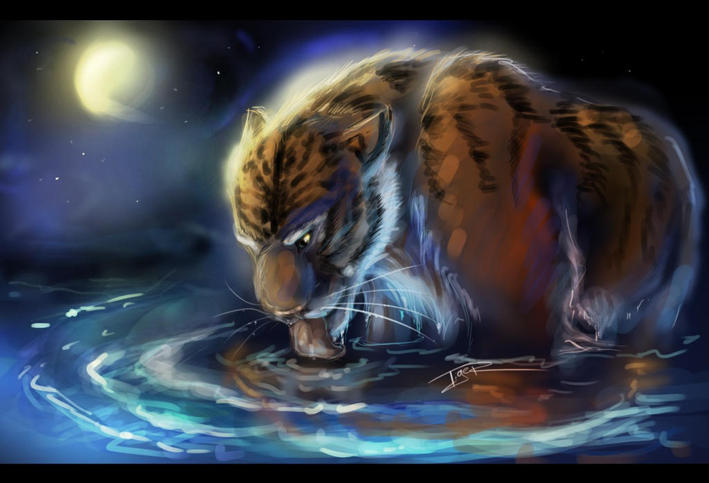 R Tigers Tiger in the moonlight by Ti-R
