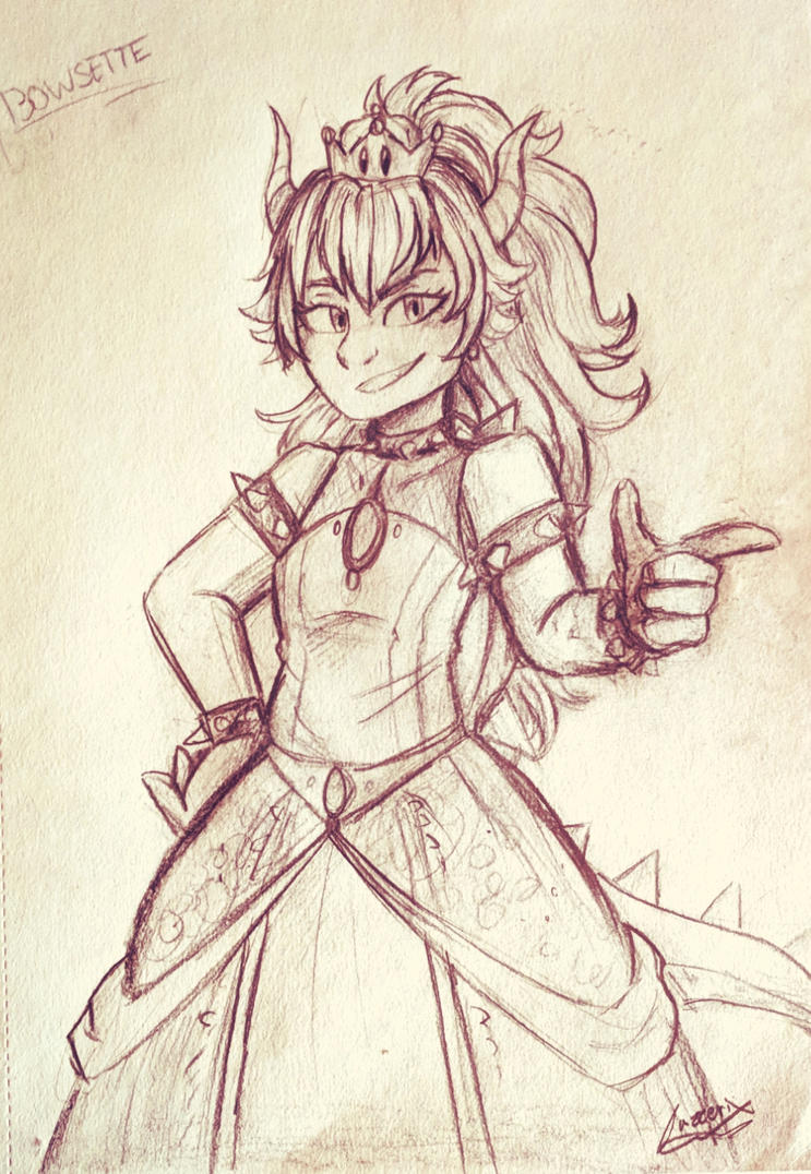 Bowsette sketch by Jazzerix