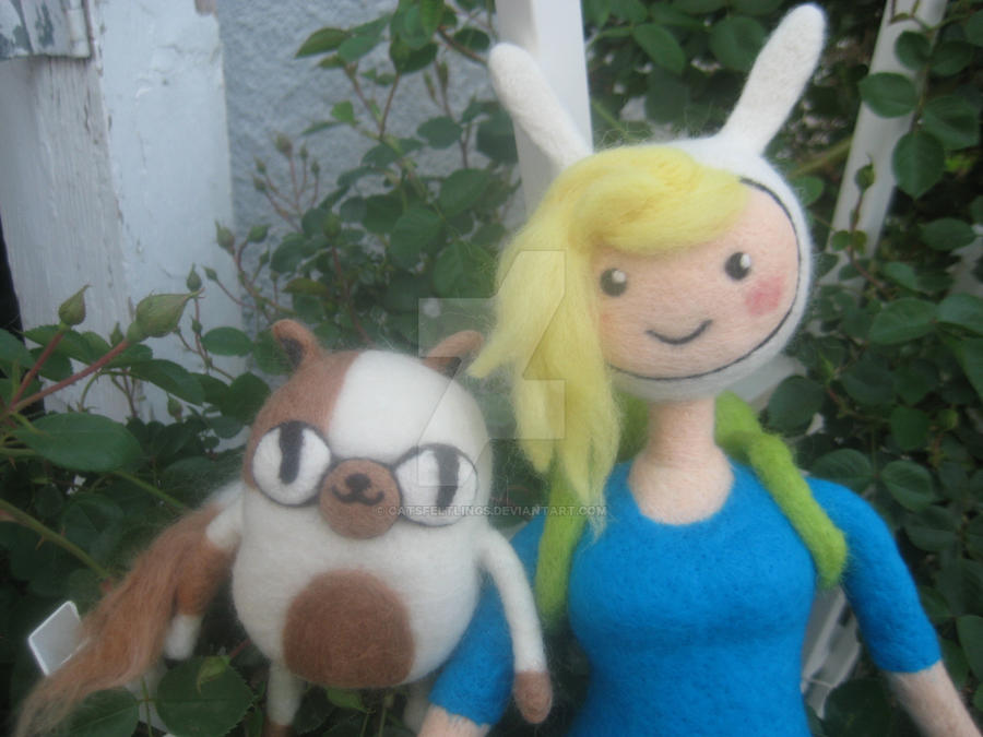 My Needle Felted Fionna and Cake by CatsFeltLings