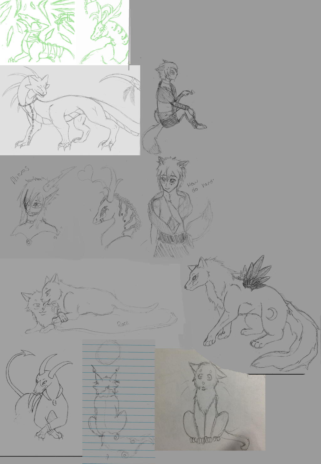 Art dump from 2014 unfinished work by AbyssinalPhantom