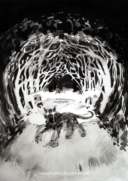 Led through the mist, by the milk-light of moon by nekophoenix