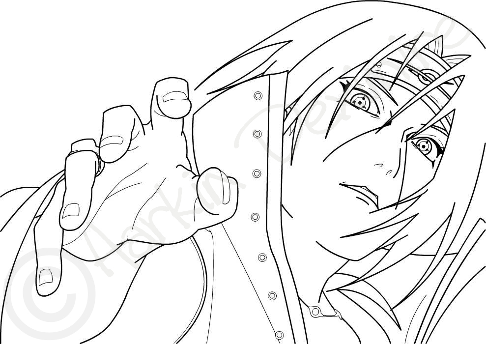 itachi uchiha without color by harkindeximire on deviantart