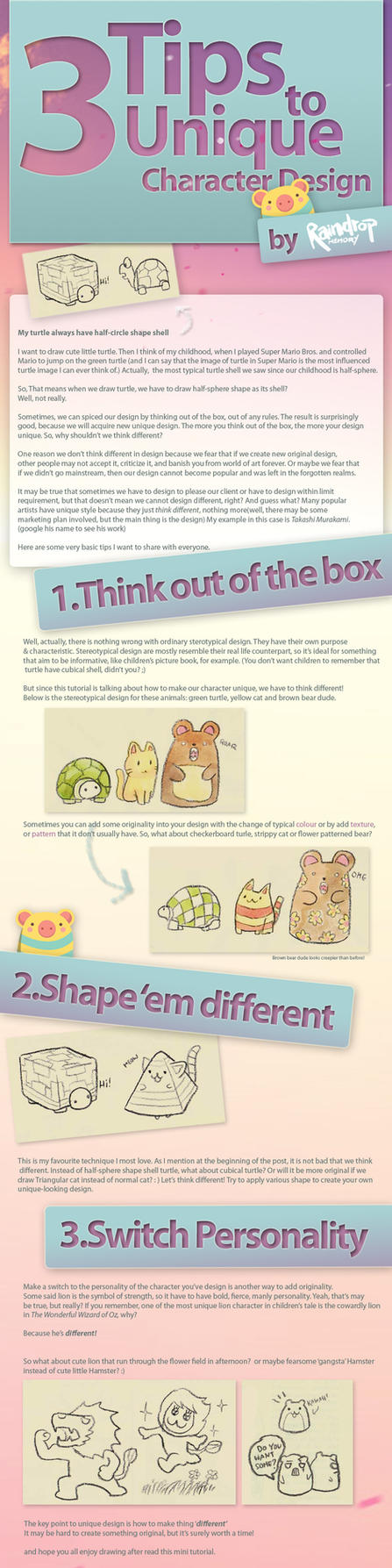 3 Tips to Character Design by Raindropmemory