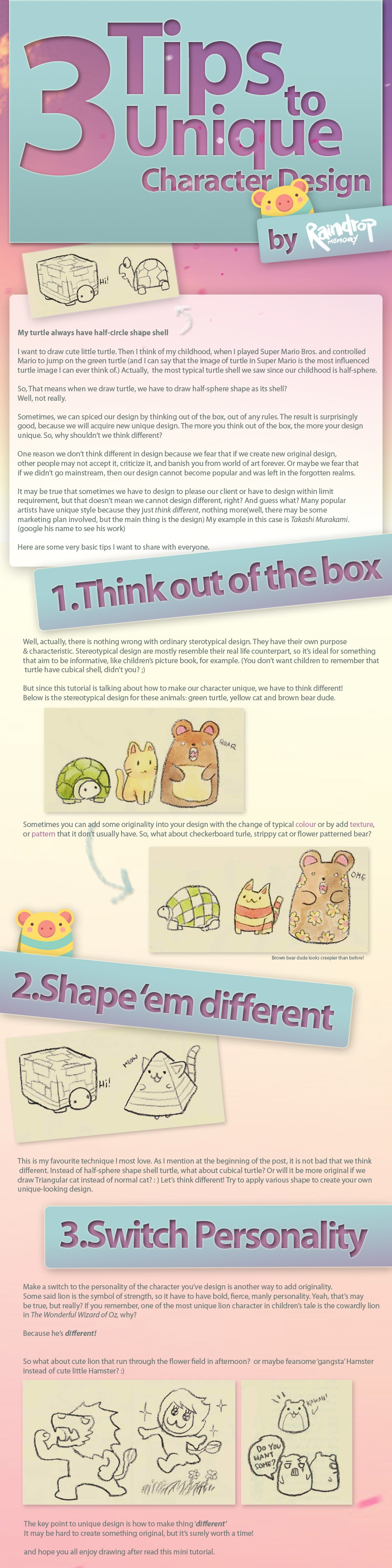 Top 40 Character Design Tips : Tips to character design by raindropmemory on deviantart