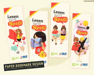 Paper Bookmark Design for German-Study StudentCamp by Raindropmemory