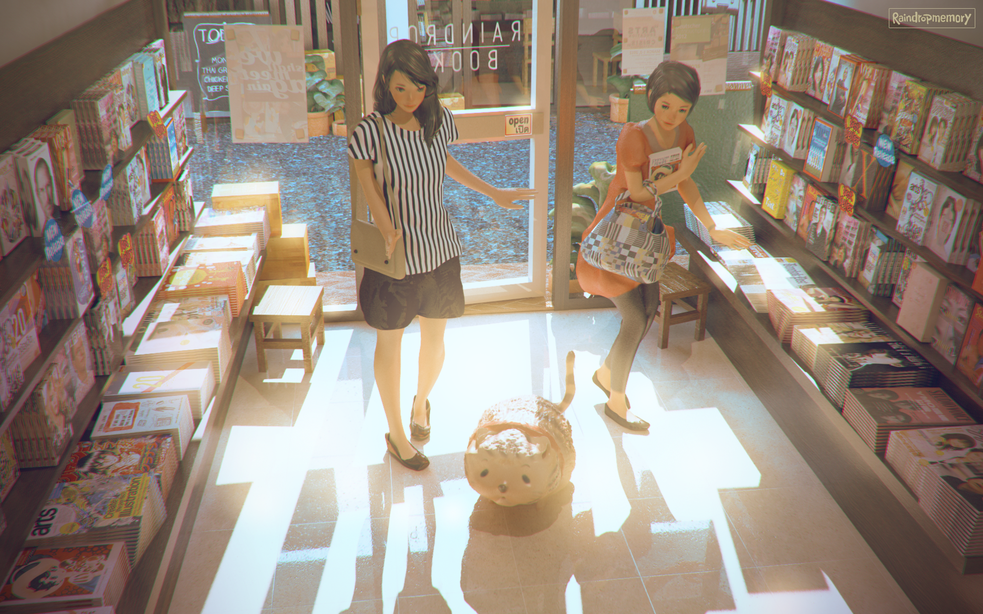 Meeting at Bookstore x Chubby Kitty by Raindropmemory