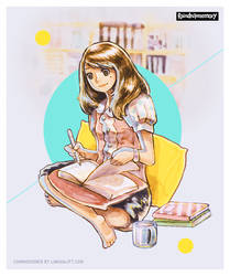 Cozy Reading and Yellow Pillow by Raindropmemory