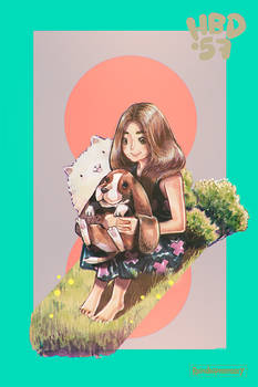 Girl and Basset Hound