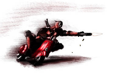 Deadpool on his way by Jojo66punt0
