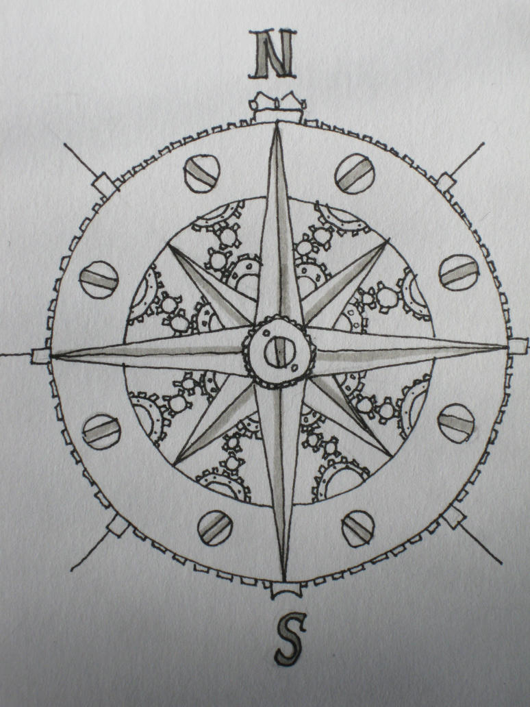 Compass Tattoo Line Drawing : Steampunk compass rose by fairyants on deviantart