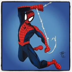 Spider-man swinging by kingjoeg