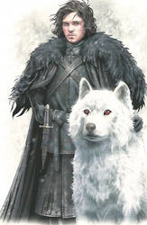 Jon Snow and ghost by Fireolivier11