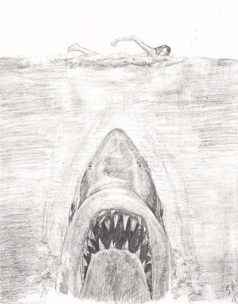 Jaws Book Cover Art : My jaws practice sketch roger kastel by smjblessing on